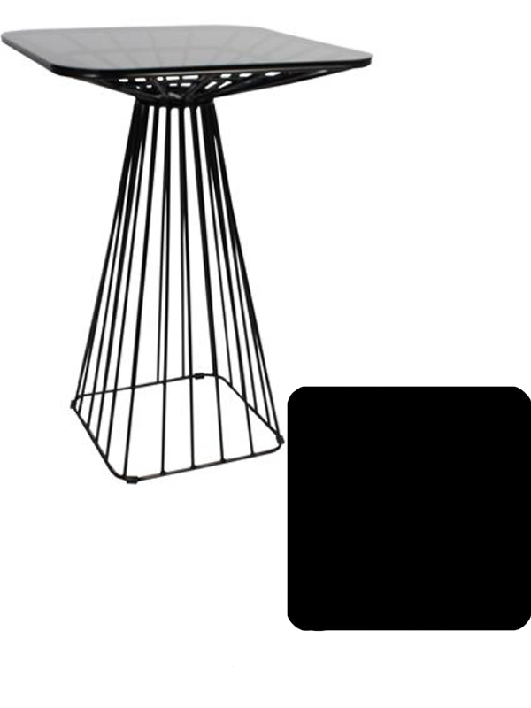 Cage Dry Bar Table - Black, Black Compact Laminate