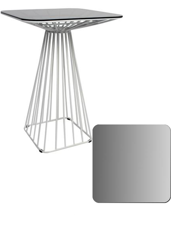 Cage Dry Bar Table - White, Smoked Tampered