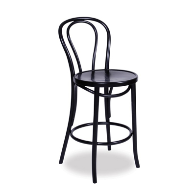68cm Bentwood Stool with back - Black