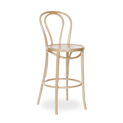 74cm Bentwood Stool with back - Natural