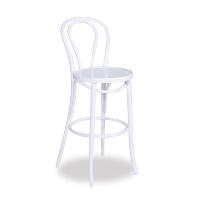68cm Bentwood Stool with back - White