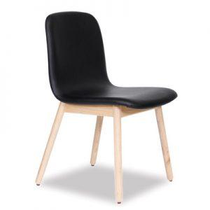 Castle Scandinavian Timber Dining Chair - Black Vinyl