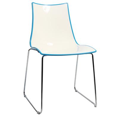 Chair Bicolore Sled Chrome - Blue