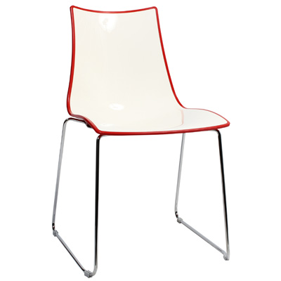 Chair Bicolore Sled Chrome - Red