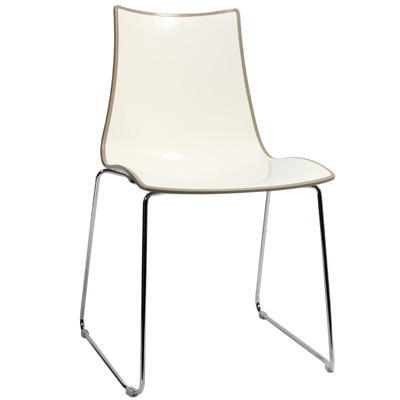 Chair Bicolore Sled Chrome - Taupe