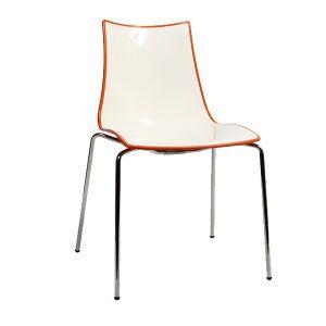 Zebra Bi-Color Chair - Metal Legs - Orange