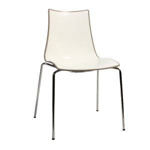 Zebra Bi-Color Chair - Metal Legs - Taupe