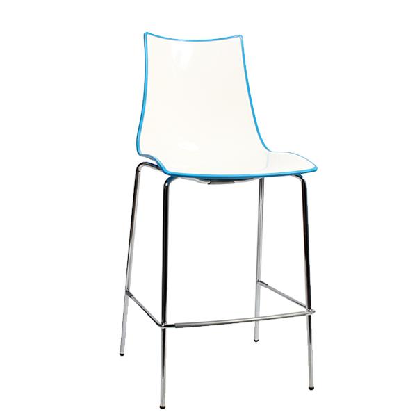 Zebra Bi-Color Stool - Metal Legs - Blue, 650H